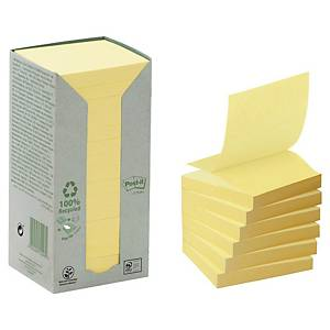 POST-IT 100 PERCENT RECYCLED Z NOTES 76 X 76MM YELLOW - PACK OF 16 PADS