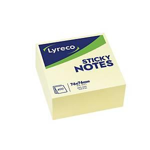 Bloc cube repositionnable Lyreco - 75 x 75 mm - jaune pastel - 400 feuilles