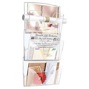 Lyreco muurdisplay met 3 vakken voor A3 documenten, transparant