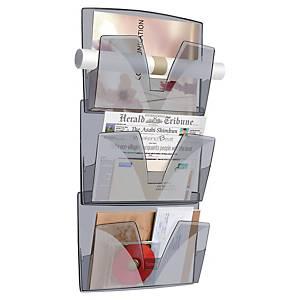 Lyreco Wall Rack System 3-Pocket 370x270x87mm Smoke