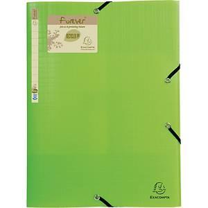 Elastikmappe Exacompta Forever, A4, genbrugs-PP, 3-klap, grøn