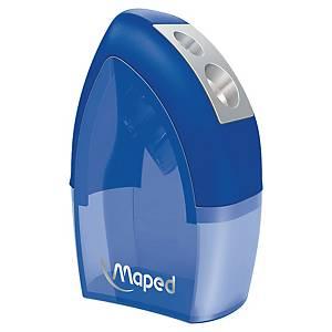 Sacapuntas metálico con reserva Maped Office Tonic - 2 orificios - azul