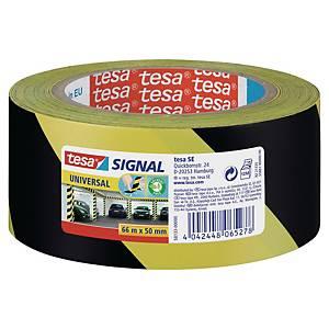 Advarselstape Tesa, 50 mm x 66 m, gul/sort