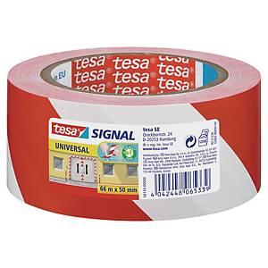 Advarselstape Tesa, 50 mm x 66 m, rød/hvid