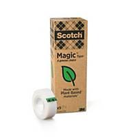 Pack de 9 rollos de cinta adhesiva invisible Scotch Magic - 19mmx33m
