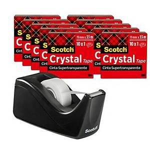 Pack de 10 rollos de cinta adhesiva invisible Scotch Crystal + dispensador