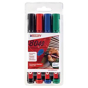 Edding 330 Permanent Marker Chisel Tip Assorted - Wallet of 4