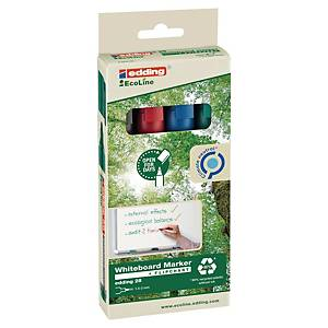Edding 28 EcoLine whiteboard marker, ronde punt, assorti kleuren, per 4 stuks