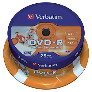 DVD-R Verbatim 4,7 Go (120 min.), vitesse 16x, imprimable, cloche de 25