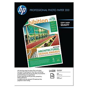 Paquete 100 hojas de papel fotográfico láser HP CG966A - A4 - 200 g/m2