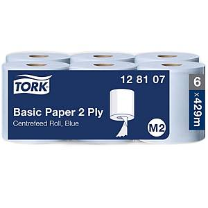 Tork Blue M2 Centrefeed 2 Ply Centrefeed Wiping Paper Roll 150M - Pack of 6