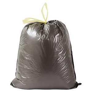 Sac poubelle à liens coulissants - 30 L - 23 microns - noir - 100 sacs