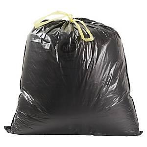 Sac poubelle à liens coulissants - 50 L - 26 microns - noir - 100 sacs
