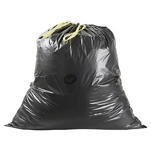 Sac poubelle à liens coulissants - 100 L - 34 microns - noir - 100 sacs