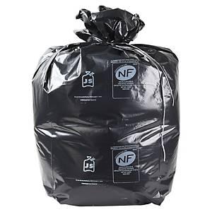 Sac poubelle pour déchets lourds - 130 L - 75 microns - gris - 100 sacs