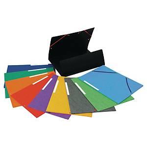 Pack de 25 carpetas con gomas Lyreco - A4 - cartulina - varios colores