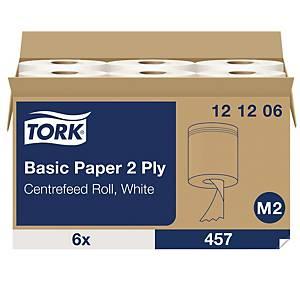 Tork Wiper Basic poetsdoek, 2-laags, wit, 457 vellen, wit, per 6 rollen