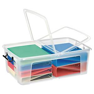 STRATA SMART STOREMASTER BOX 50 LITRE 700 X 450 X 230MM WITH FOLDING LID CLEAR