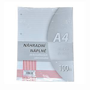 Krpa vonalas betölthető lapok jegyzettömbbe, A4, 100 lap/csomag