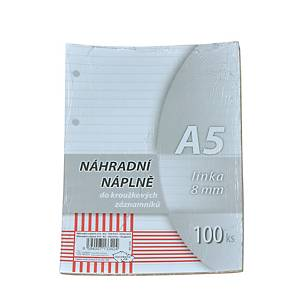 Krpa vonalas betölthető lapok jegyzettömbbe, A5, 100 lap/csomag