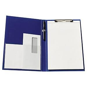 Porte-bloc conférencier à pince - A4+ - carton enduit PVC - bleu