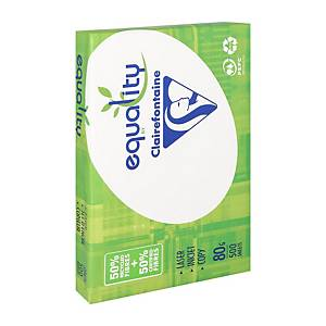 Clairefontaine Equality gerecycleerd wit A4 papier, 80 g, per 5 x 500 vellen