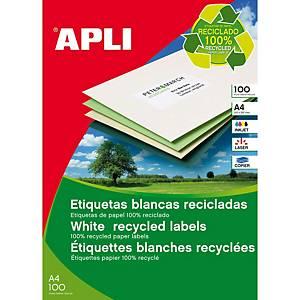 Caja de 100 etiquetas adhesivas Apli 12070 - 210 x 297 mm - blanco