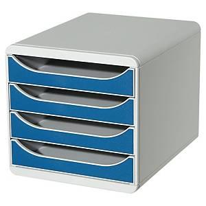 Module de classement Exacompta Big Box - 4 tiroirs - gris/bleu