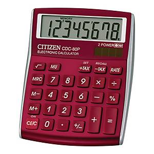 CITIZEN CDC-80  CALCULATOR 8 DIGITS BURGUNDY