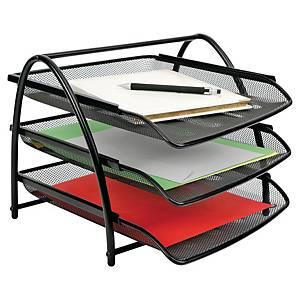 Bandeja de sobremesa Alba Mesh - 3 compartimentos - metal - negro