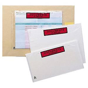 Pochette adhésive   documents ci-inclus   - 160 x 110 mm - boîte de 1000
