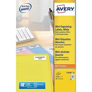 Mini étiquettes pour imprimantes laser Avery L7656, 46 x 11,1 mm, les 2.100