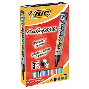 Bic 2000 permanent marker bullet tip assorted colours - box of 4
