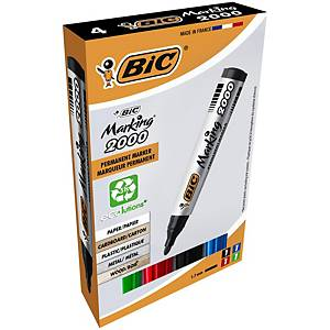 Bic Marking2000 ECOlutions Permanent Markers Med Bullet Tip Ast Colours, Pack 4