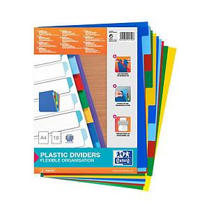 Oxford Strongline A4 Coloured Polypropylene Indices & Dividers - 10 Part