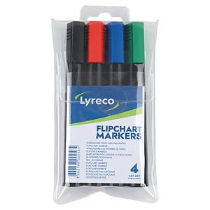 Flipchartmarker Lyreco, Rundspitze, farbig sortiert, 4er-Etui