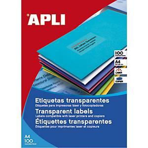 Caja de 880 etiquetas adhesivas  Apli 01223 - 48,5 x 25,4 mm - transparentes