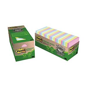 Post-it 654R-24CP-AP Greener Notes Assorted Colour 3 inch x 3 inch - Pack of 24