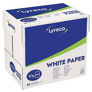 Papier photocopieur Lyreco A4, 80 g/m2, blanc, boîte de 2500 feuilles volantes