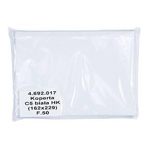 Koperty samoklejące z paskiem C5, 162x229 mm, białe, 50 sztuk