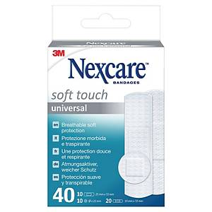 Pansements blancs flexibles Nexcare™ Soft, assortiment, 3 formats, 40 pansements