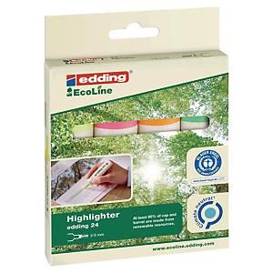 Surligneur Edding 24 EcoLine, couleurs assorties, étui de 4 surligneurs