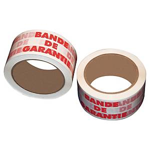 Ruban adhésif d emballage imprimé - bande de garantie - 50 mm x 66 m - lot de 6