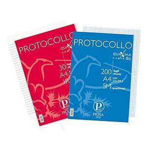 Fogli protocollo a righe Pigna A4 80 g/mq - conf. 2 x 200