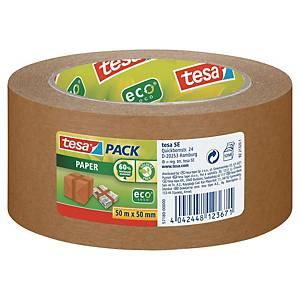 tesapack® PAPER Packband, 50 mm x 50 m, braun