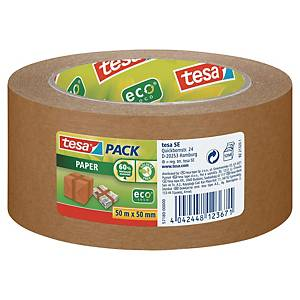 Tesapack® paper ecoLogo® tape, kraft, bruin, 50 mm x 50 m, per rol tape