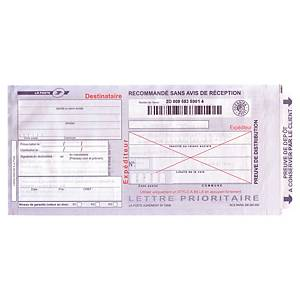 Imprimé recommandé liasse guichet - sans AR - SGR1 - boîte de 100