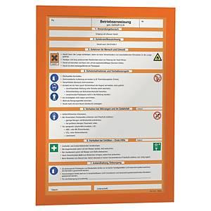 Samolepiace informačné puzdro Durable Duraframe, formát A4, oranžové, 2 ks