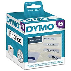 Hengemappeetikett Dymo LabelWriter, 50 x 12 mm, rull à 220 etiketter