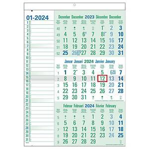 Green Collection kalender met 3 maanden per blad, zestalig, 30 x 43 cm